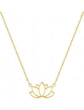 Collier Femme Or Jaune Fleure de Lotus