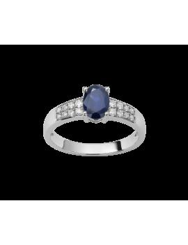 Bague Or Blanc Saphir Diamant