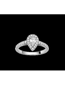 Solitaire Or Blanc Diamant Poire Accompagnés