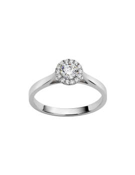 Solitaire Or Blanc Diamant accompagné
