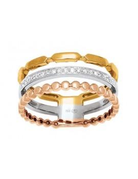 Bague 3 Ors avec anneau Diamants