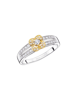 BAGUE GRAIN DE LOVE Argent, or jaune et diamants