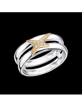 BAGUE ETOILEMENT D, OR JAUNE Argent, or jaune et diamants