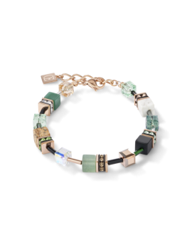 Bracelet GeoCUBE® Cristaux Swarovski® & pierres précieuses vert-beige