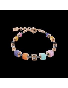 Bracelet GeoCUBE® Cube acier or rose & cristal multicolore couture