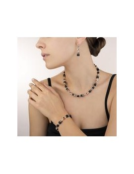 Collier GeoCUBE® onyx noir-or rose