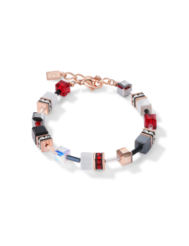 Bracelet GeoCUBE® or rose, blanc & rouge