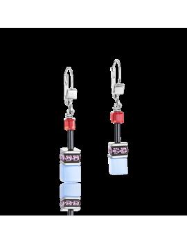 Boucles d'oreille GeoCUBE® mauve-rouge-blue