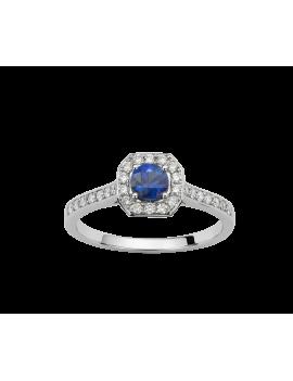 Bague Or Blanc  Saphir Bleue  et Diamant