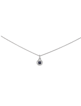 Collier Or Blanc  Saphir Bleue entourage Diamant